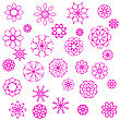Pink Flower Icons Isolated On White Background