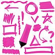 Pink Marker Isolated On White Background. Set Of Graphic Signs. Arrows, Circles, Correction Lines stock illustration