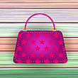 Pink Modern Womens Handbag On Colorful Planks Background