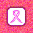 Pink Ribbon On White Paper Sticker. Breast Cancer Awareness Pink Ribbon On Pink Polygonal Background