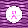 Pink Ribbon On White Paper Sticker. Breast Cancer Awareness Pink Ribbon On Pink Perforated Background