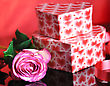 Pink Rose And Gift Boxes stock photo