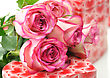 Valentine's Day Pink Roses And Gift Boxes stock photography