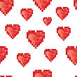 Pixel Heart Seamless Pattern. Vector