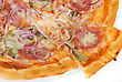 Pizza Pizza Closeup With Smoked Meat, Salami, Gherkin, Onion And Mozzarella Cheese stock photo