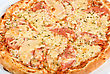 Italy Pizza With Mushrooms, Ham Closeup stock photo