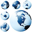 Planet Earth Map From Six Views In Blue stock illustration