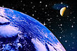 Planet Earth On A Starry Sky With The Moon For Air Space