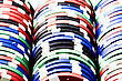Poker Chips In Rack Colorful And In Rows stock photo