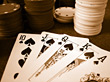 Poker Chips & Royal Flush stock photography