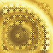 Polished Gold Texture With Floral And Stars Background