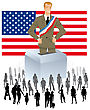 Politician With An Urn On An American Flag With A Crowd Of People For Democratic Elections Political Parties