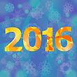 Polygonal New Year Numbers On Blue Snow Flake Background