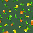 Polygonal Pear Seamless Pattern Isolated On Green Background