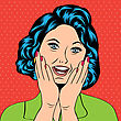 Pop Art Illustration Of A Laughing Woman, Vector Format stock illustration