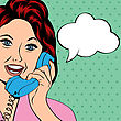 Pop Art Lady Chatting On The Phone, Vector Illustration stock vector
