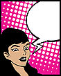 Pop Art Style Graphic With Woman And Speech Bubble