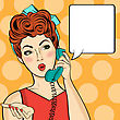 Pop Art Woman Chatting On Retro Phone . Comic Woman With Speech Bubble. Vector Illustration stock illustration