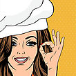 Pop Art Woman Cook, Illustration In Vector Format