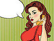 Pop Art Woman With Retro Phone.Comic Girl. Pin Up Woman. Vector Format stock illustration