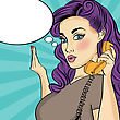 Pop Art Woman With Retro Phone.Comic Girl. Pin Up Woman. Vector Format