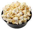 Popcorn In A Black Cup On A White Background, Isolated stock photo