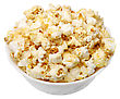 Popcorn In A White Cup On A White Background, Isolated stock photo