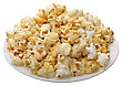 Popcorn In A White Cup On A White Background, Isolated stock image