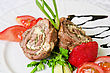 Pork Rolls With Cheese And Vegetables: Onion, Cucumbers, Tomatoes stock photography