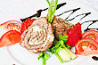 Pork Rolls With Cheese And Vegetables: Onion, Cucumbers, Tomatoes