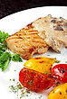 Pork Steak With Mushroom Sauce And Grilled Vegetables stock photography