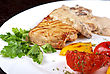 Pork Steak With Mushroom Sauce And Grilled Vegetables stock image