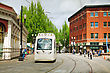 PORTLAND - MAY 4: Light Train Of The Portland Streetcar System On May 4, 2014 In Portland, Oregon. The Portland Streetcar System Opened In 2001 And Serves Areas Surrounding Downtown Portland stock image