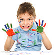 Playful Portrait Of A Cute Boy Showing Her Hands Painted In Bright Colors, Isolated Over White stock photo