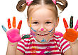 Playful Portrait Of A Cute Cheerful Girl With Painted Hands stock image