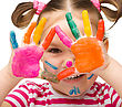 Playful Portrait Of A Cute Cheerful Girl With Painted Hands stock photo