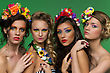 Portrait Of Four Young Beautiful Girls Wearing Flower Accessories Over Green Background