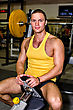 Barbell Portrait Of Handsome Bodybuilder In Fitness Club stock image