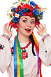 Portrait Of Happy Woman In The Ukrainian National Clothes stock photo