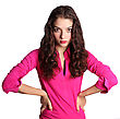 One Portrait Of Nice Young Woman In Pink Blouse Isolated On White stock image