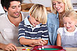 Portrait Of A Family Playing Games stock image