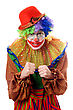 Portrait Of An Anger Clown. stock photo