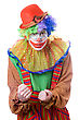 Portrait Of An Evil Clown. stock photography