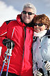 Skiing Portrait Of A Couple On A Skiing Holiday stock photo