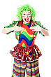 Portrait Of Joyful Female Clown. stock photography