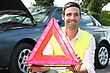 Portrait Of A Man With Safety Triangle stock photography