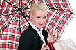 Portrait Of A Young Woman With Umbrella stock photography