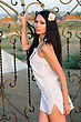 Lattice Portrait Of Pretty Young Woman In White Dress stock photography