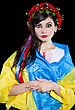 Portrait Of Young Pretty Ukrainian Woman Posing With Flag. Isolated On Black