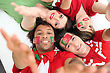 Portugal Portuguese Football Fans Reaching Out stock image